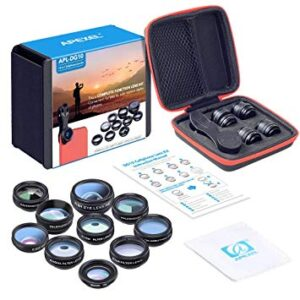 apexel apl-dg10 optical lens 10 in 1 high quality optical lens kit with universal clip for phone