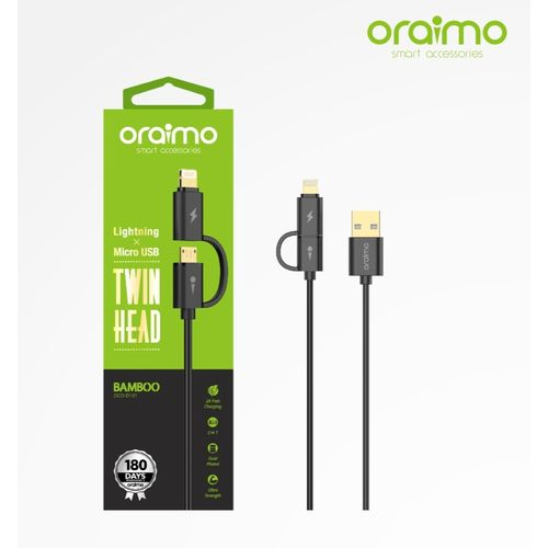 oraimo ocd-d101 bamboo twin head 1m fast charging cable